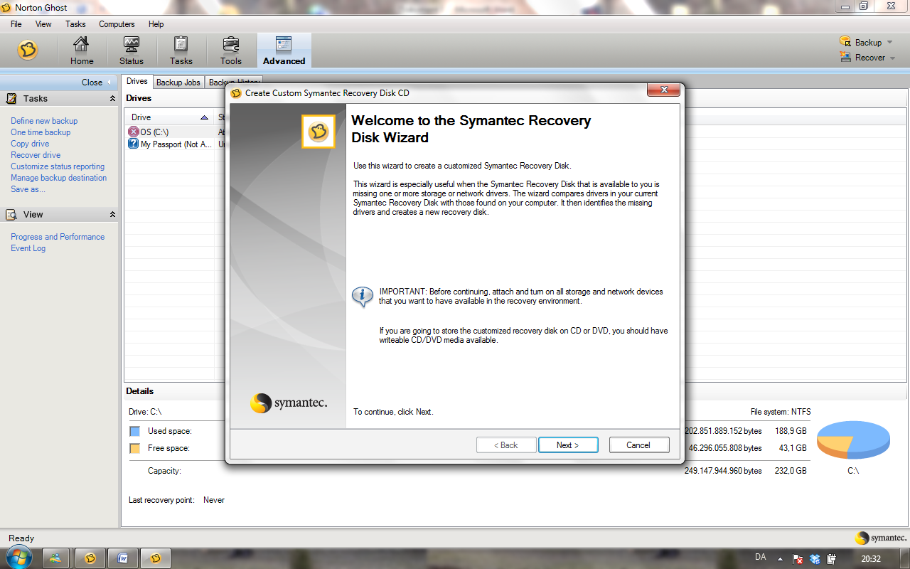How to create a symantec system recovery disk (srd) using the.