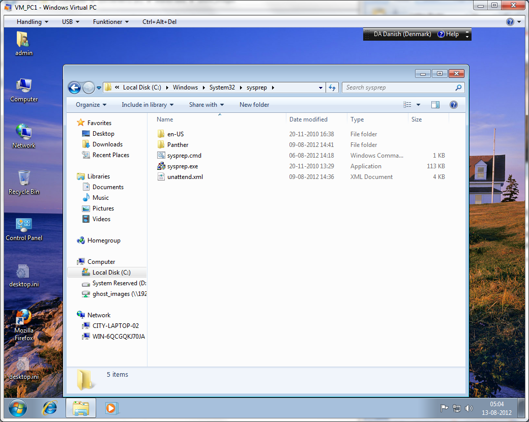 Using Sysprep to prepare a Windows 7 system for making a